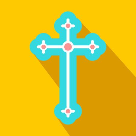 cruz religiosa: S�mbolo religioso del crucifijo icono de plano sobre un fondo amarillo