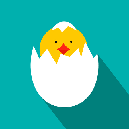broken eggs: Yellow newborn chicken hatched from the egg flat icon on a blue background
