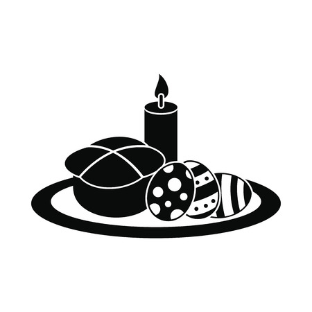 easter cake: Easter cake with eggs and burning candle black simple icon