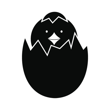 hatched: Newborn chicken hatched from the egg black simple icon Illustration