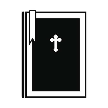 leer biblia: Bible book black simple icon isolated on white background Vectores