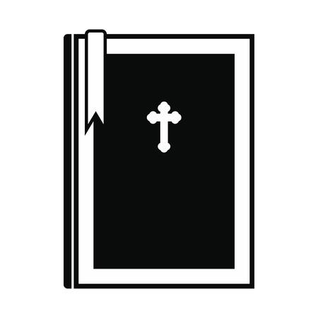 cruz religiosa: libro de la Biblia simple icono negro aislado en el fondo blanco