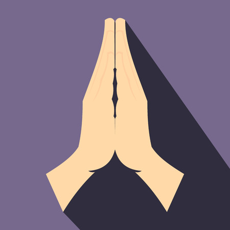 male hand: Praying hands flat icon on a violet background