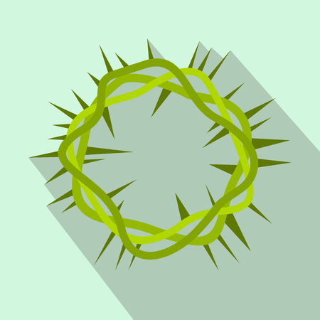 humility: Crown of thorns flat icon on a light blue background