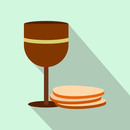 last supper: Chalice of wine and wafers flat icon on a light blue background