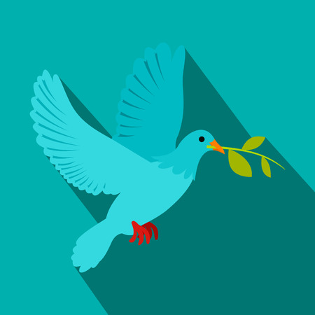 love shape: Dove of peace flying with a green twig olive flat icon on a blue background