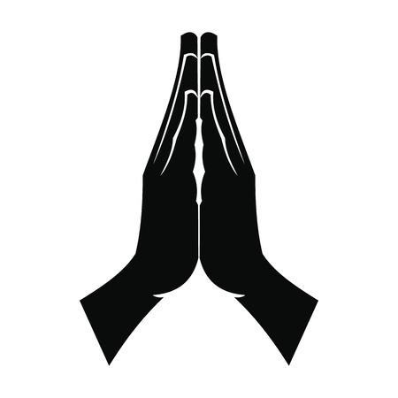 juntos: Manos de rogación negro simple icono aislado en el fondo blanco Vectores
