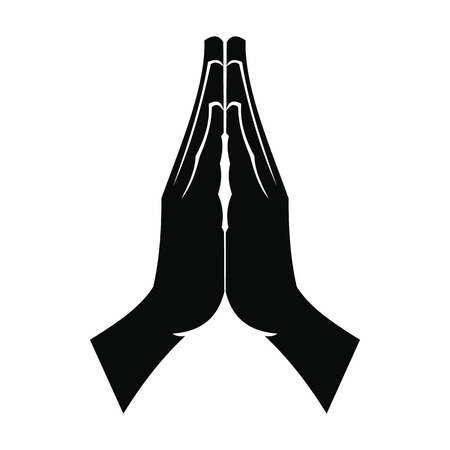 Praying hands black simple icon isolated on white background