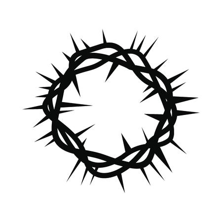 corona de espinas: Corona de espinas sencilla icono negro aislado en el fondo blanco Vectores