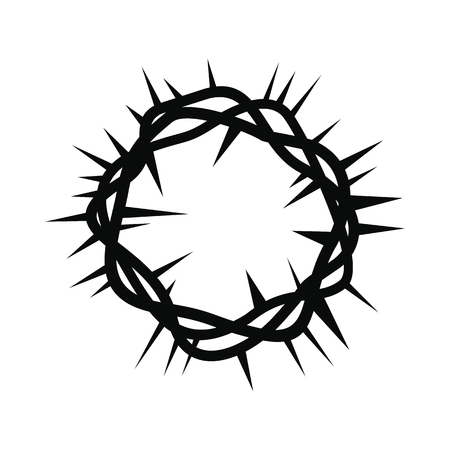 thorns: Crown of thorns black simple icon isolated on white background