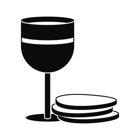 chalice: Chalice of wine and wafers black simple icon