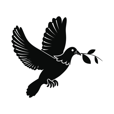 Dove of peace flying with twig olive black simple icon