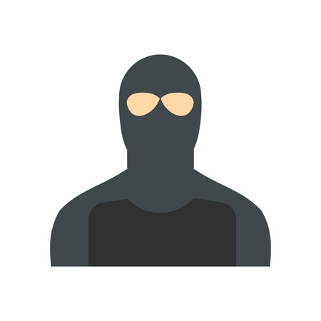 thievery: Man in a mask flat isolated on white background