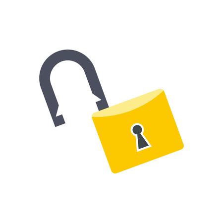 Open lock flat icon isolated on white background