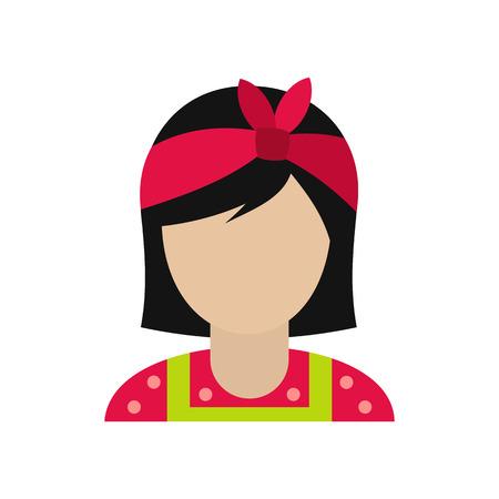ama de casa: Ama de casa con un arco rojo en su icono de la cabeza plana aislada en el fondo blanco Vectores