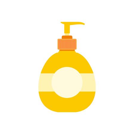 dishwashing liquid: Yellow plastic bottle with liquid soap flat icon isolated on white background Illustration