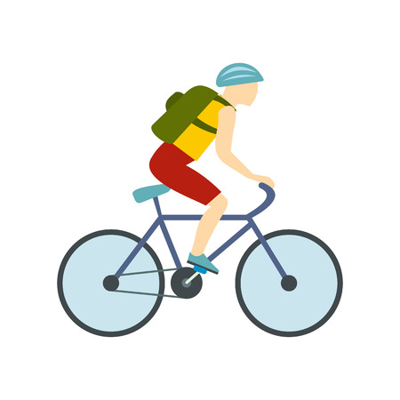 Tourist riding a bicycle with backpack flat icon isolated on white background