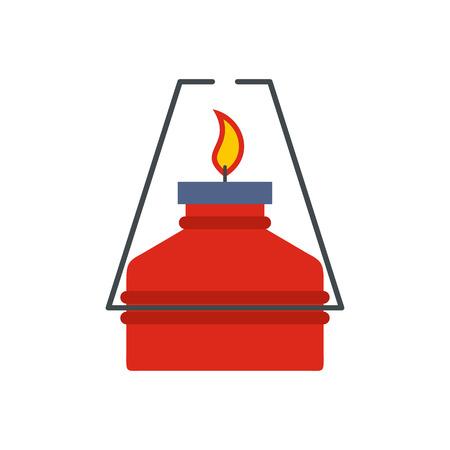 gas burner: Portable gas burner flat icon isolated on white background