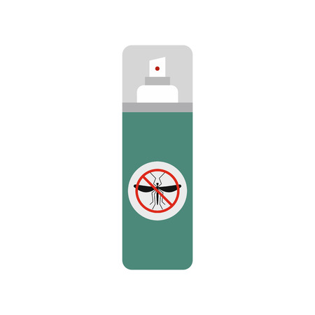 insect repellent: Mosquito spray flat icon isolated on white background Illustration