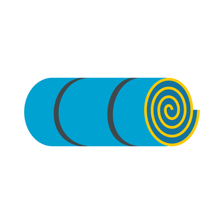 rolled: Rolled-up blue tourist mat flat icon isolated on white background
