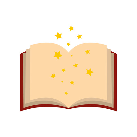 spells: Magic book of spells open flat icon isolated on white background