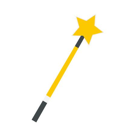 Gold magic wand flat icon isolated on white background