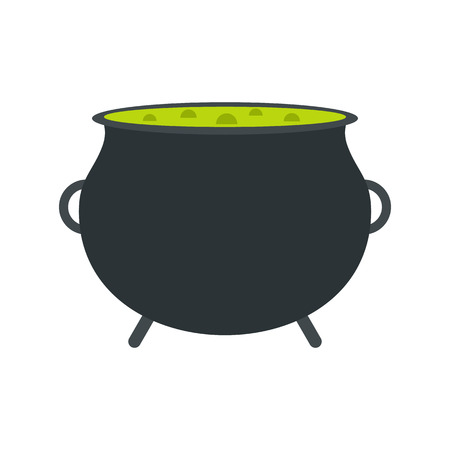 decoction: Witch cauldron with green potion flat icon isolated on white background
