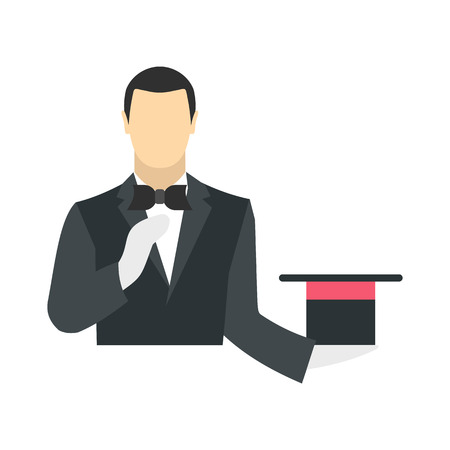 top black hat: Magician in a black suit holding an empty top hat flat isolated on white background