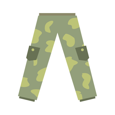 Camouflage trousers flat icon isolated on white background