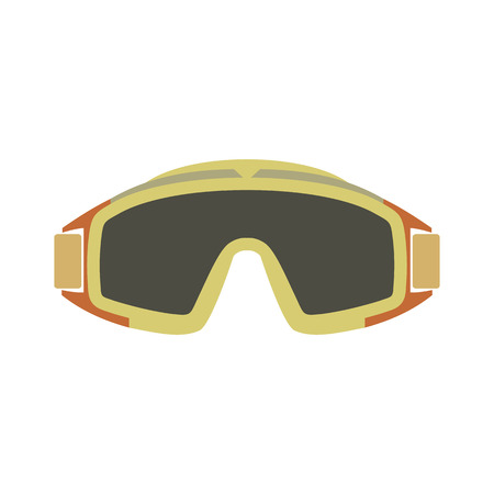 paintball: Paintball goggles flat icon isolated on white background