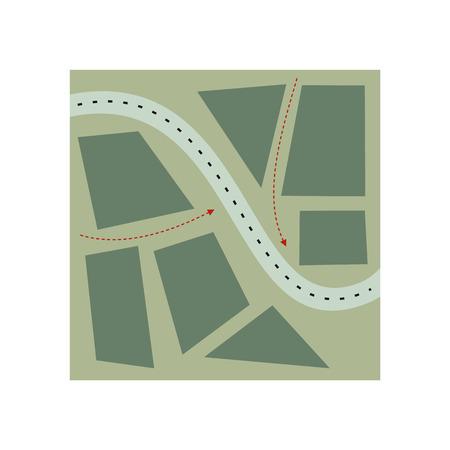 Stylized map flat illustration isolated on white background Ilustração