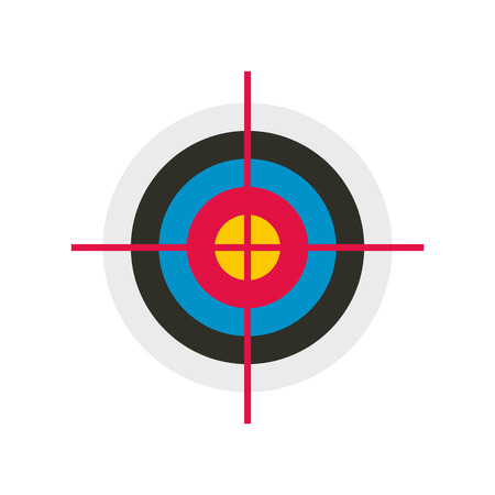 dart on target: Target colored flat icon isolated on white background