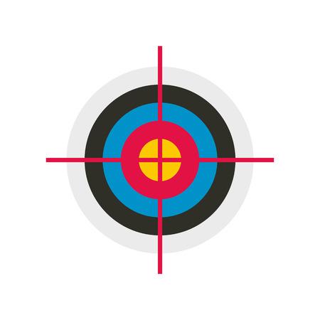 Target gekleurde platte pictogram op een witte achtergrond