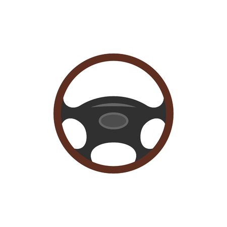 steering wheel: Car wheel flat icon isolated on white background Illustration