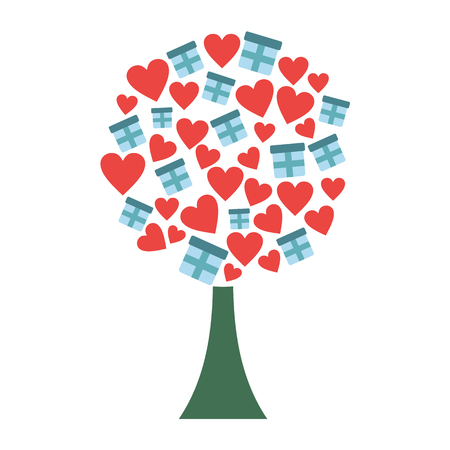 love tree: Love tree with hearts and gift boxes flat icon isolated on white background Illustration