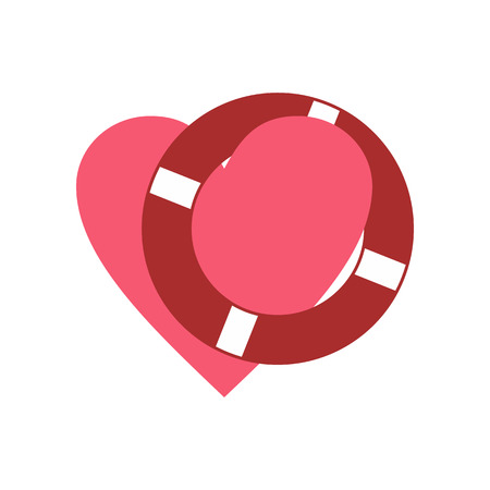 lifeline: Heart with lifeline flat icon isolated on white background