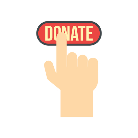 donate: Donate button pressed by hand flat icon isolated on white background Illustration