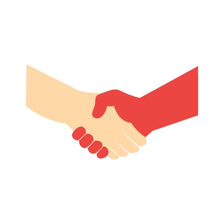 saludo de manos: Apret�n de manos icono plana aislada en el fondo blanco Vectores