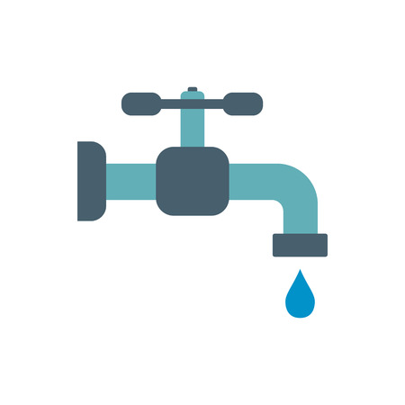 Faucet flat icon isolated on white background Illustration