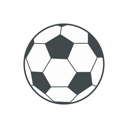 black: Soccer ball flat icon isolated on white background Illustration