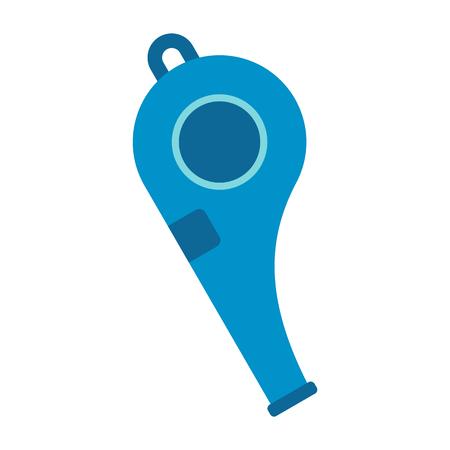 shrill: Blue sport whistle flat icon isolated on white background