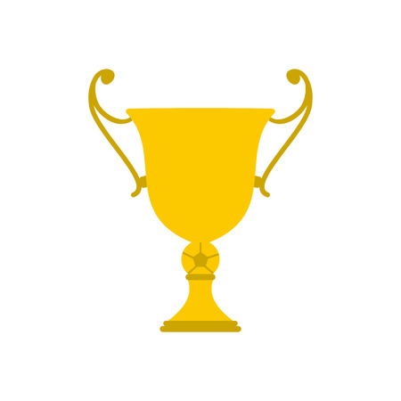 trophy winner: Golden trophy cup flat icon isolated on white background