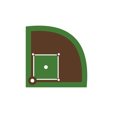 outfield: Baseball field flat icon isolated on white background