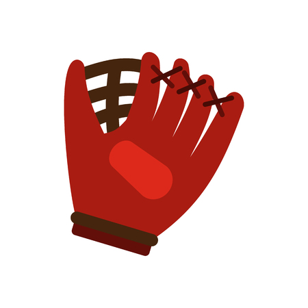 exercise equipment: Baseball glove flat icon isolated on white background Illustration