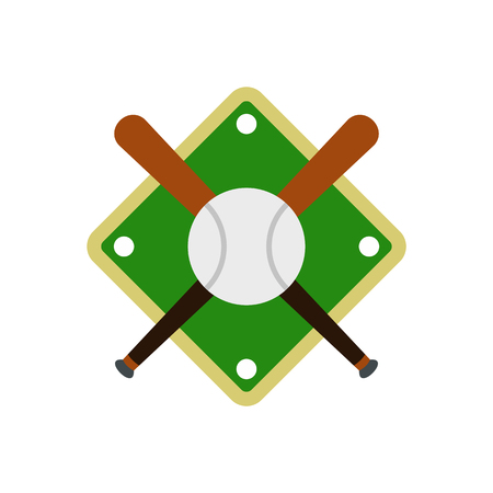 outfield: Baseball bats and ball on baseball field flat icon isolated on white background