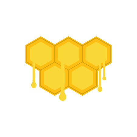 honeycomb: Honeycomb with drops flat icon isolated on white background