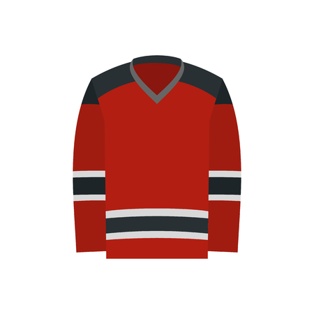 white uniform: Hockey uniform flat icon. Red hockey shirt isolated on white background