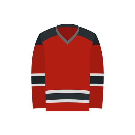 uniform: Hockey uniforme icono plana. Camisa roja de hockey aislado en el fondo blanco