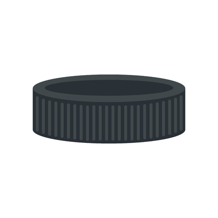 puck: Puck flat icon. Black hockey puck isolated on white background Illustration