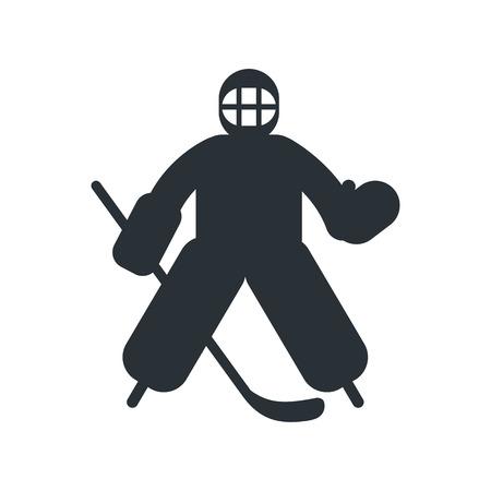 goalkeeper: Hockey goalkeeper flat icon isolated on white background Illustration